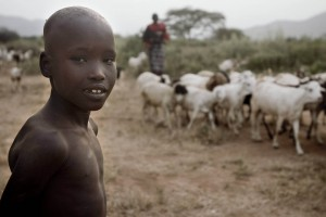 print, prints, art, photography, photographic, gallery, child, Samburu, goat, goats, tribe, tribesman, tribesmen, herd, herding, savannah, Kenya, Northern,