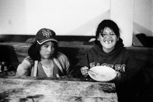 Street children at a feeding centre in El Alto, Bolivia